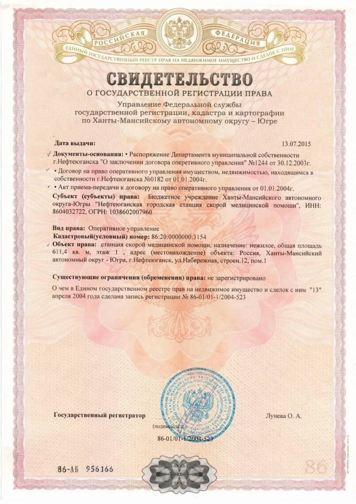 Свидетельство о государственной регистрации права от 13.07.2015