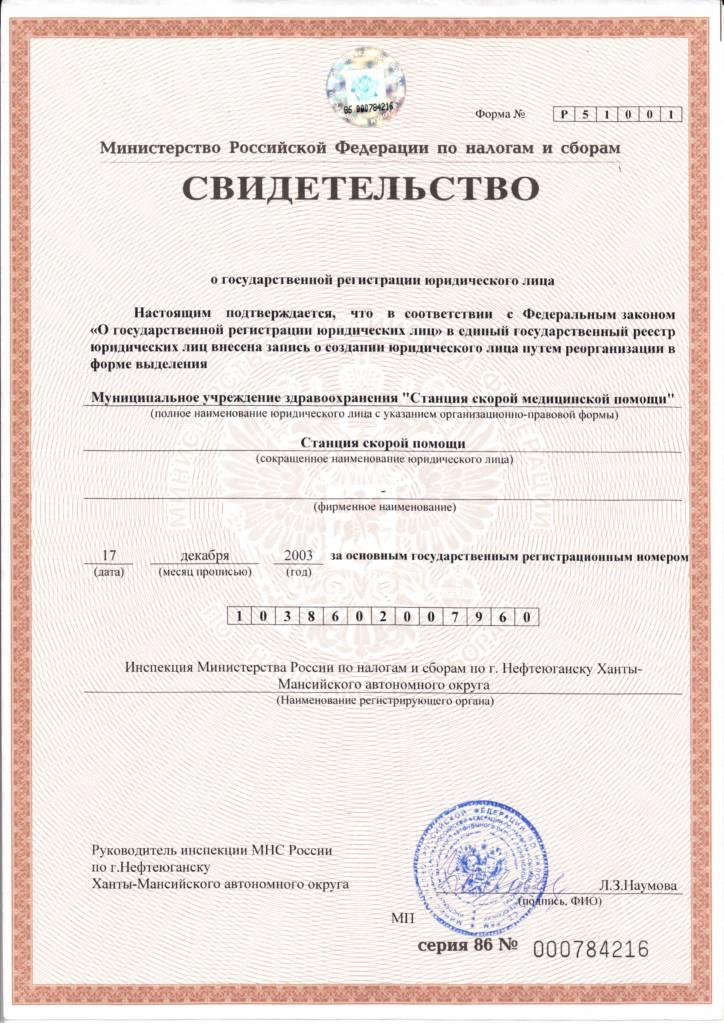 Свидетельство о государственной регистрации юридического лица 1038602007960 от 17.12.2003